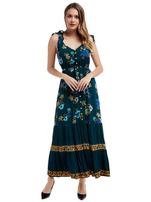 Refined Navy Blue Sleeveless Maxi Dress Floral Printed Fabulous