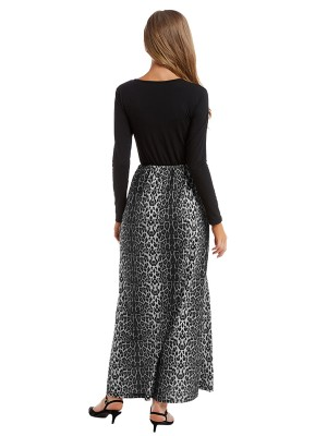 Comfy Maxi Dress Big Size Leopard Splice Ultra Cheap