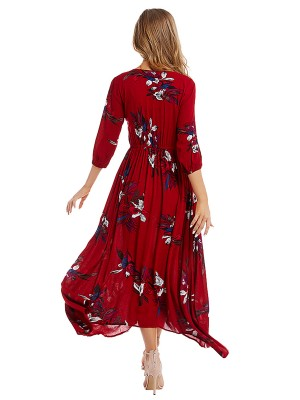 Extraordinary Wine Red Floral Print Maxi Dress High Rise Sheath