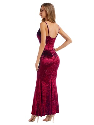 Effective Wine Red Velvet Maxi Dress Sling Backless Formal Settings