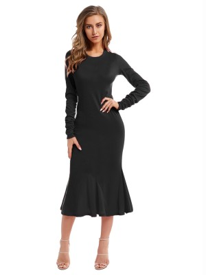 Gorgeous Black Maxi Dress Crew Neck Long Sleeve Elastic Material