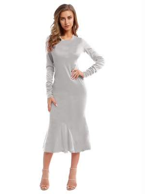 Bewitching Gray Fishtail Hem Round Collar Maxi Dress Glamor Women