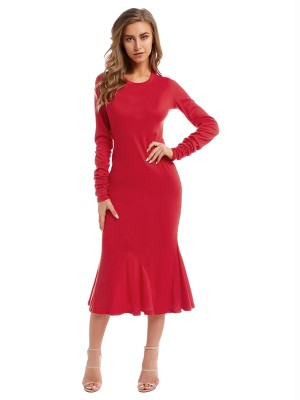 Edgy Red Long Sleeve Maxi Dress Solid Color Breath