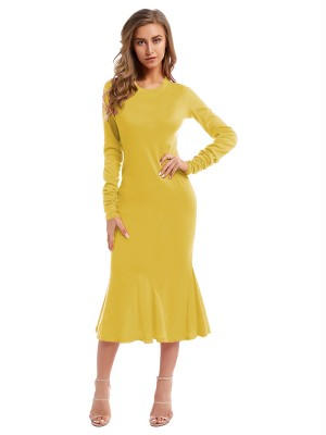 Natural Yellow Maxi Dress Full Sleeve Crew Neck Simplicity
