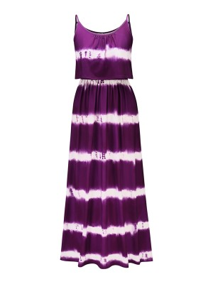 Purple Maxi Dress Elastic Waist Dye Print Delightful Garment