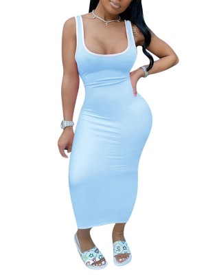 Breathtaking Light Blue Maxi Tank Dress Sleeveless Patchwork