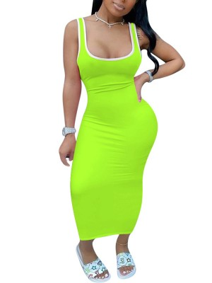 Classy Green Maxi Dress Sleeveless Tight Square Neck Breathable