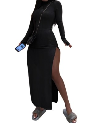 Black Maxi Dress Side Slits Mock Neck Sensual Curves