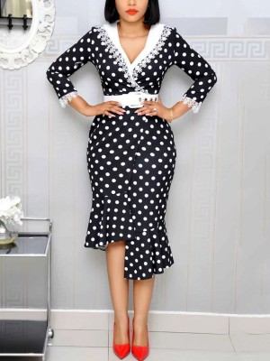 Glitzy Black Fishtail Hem Dot Pattern Midi Dress For Fashion