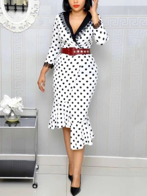 Ladies White Waistband Midi Dress Dot Lace Trim For Lover