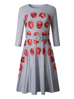 Casually Gray Waist Belt Round Collar Midi Dress Form Fit