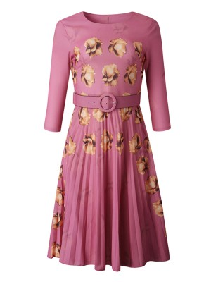 Maiden Pink Midi Dress Floral Printing Ruched Contouring Sensation