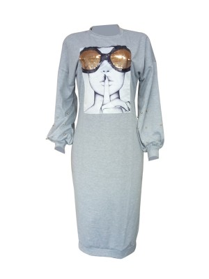 Stylish Gray Patchwork Midi Dress Bishop Sleeves Latest Trends