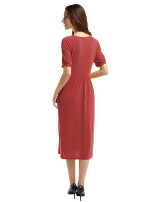 Showy Red Button V Collar Short Sleeve Midi Dress Online Sale
