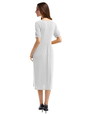Fascinating White Short-Sleeve Pleated Waist Midi Dress Women Fashion