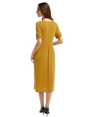 Smoothing Yellow Button Front Midi Dress Ruched Waist Stunning Style