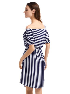 Fantastic Puff Short Sleeve Stripe Midi Dress Romance Time