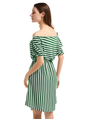 Flirting Knit Midi Dress Stripe Elastic Waist Leisure Fashion