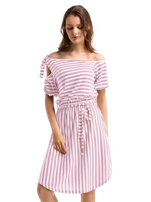 Laid-Back Tie Off Shoulder Midi Dress Stripe Comfort Online