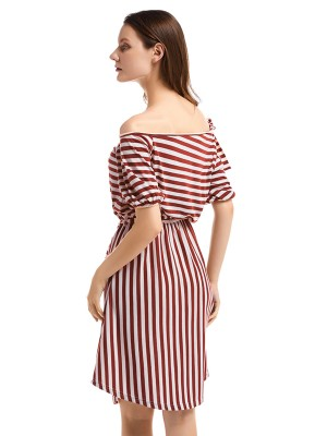 Romantic Curved Hem Stripe Pattern Midi Dress Woman Clothing