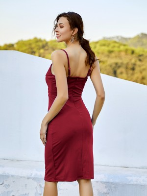 Slim Fit Wine Red Backless Midi Dress Pleated Sling