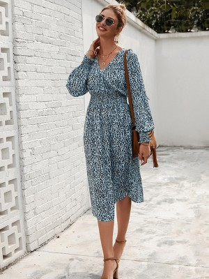 Shimmer Blue Lantern Sleeve Midi Dress Leopard Print