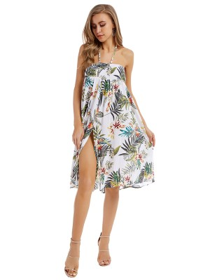 Wonderful White Tropical Plants Midi Dress Halter Neck Slim