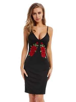 Showy Black Rose Pattern Sling Dress Deep-V Neck Outfit