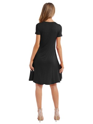 Summary Black Solid Color Round Collar Midi Dress Women Outfit
