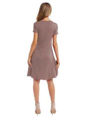 Super Trendy Light Brown Crew Neck Midi Dress Solid Color