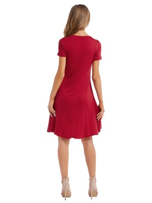 Catching Red Short-Sleeves Midi Dress Round Neck