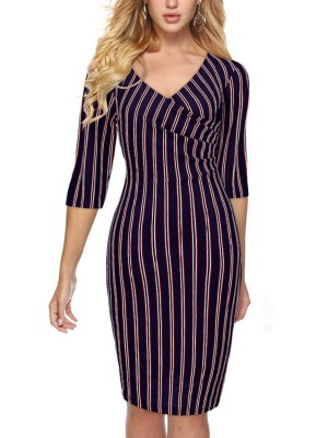 Navy Blue Wrap V Neck Stripe Printed Midi Dress Forward Women