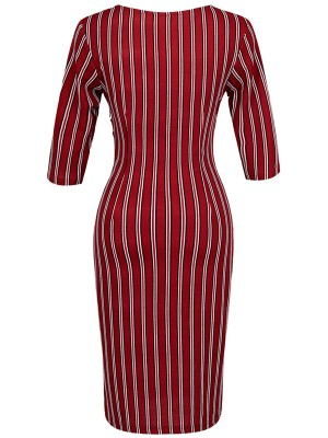 Wine Red Stripe Print Half Sleeves Midi Dress Comfort Fabric