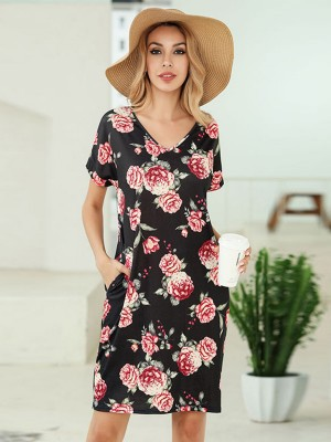 Summary Black Side Pockets Summer Dress Flower Print For Party