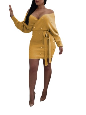 Utility Yellow Open Back Tie Full Sleeve Mini Dress Quality Assured