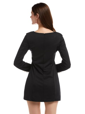 Ultra Cheap Black V Neck Mini Dress Double-Breasted Pullover
