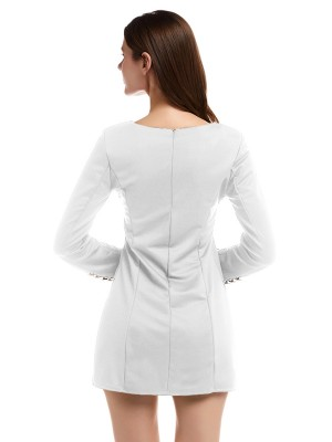 Natural White Solid Color Mini Dress Long Sleeve Nice Quality