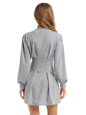 Soft Gray Crew Neck Mini Dress High Waist Weekend Fashion
