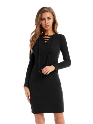 Dainty Black V Collar Sweater Dress Lace-Up For Ladies