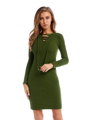 Green Full Sleeve Solid Color Sweater Dress Good Elasticity