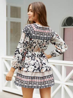 Relaxed Black Mini Dress Floral Print Elastic Waist Women Fashion