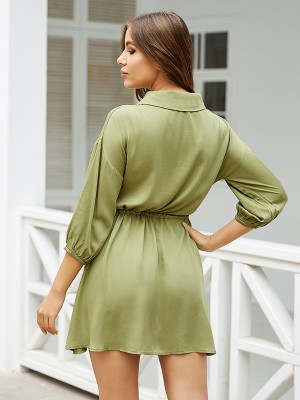 Casual Blackish Green Lantern Sleeves Buttons Mini Dress Modern