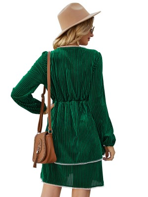 Inviting Green High Waist Mini Dress Full Sleeves Garment
