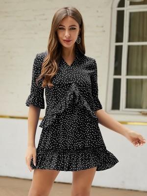 Slender Black Mini Dress Queen Size Dot Pattern Garment
