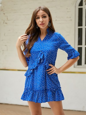 Comfy Royal Blue Chiffon Mini Dress Ruffled Big Size Demure
