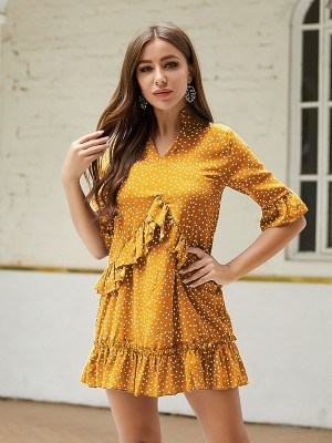 Slimming Yellow Polka Dot Mini Dress Ruffle Big Size Charm