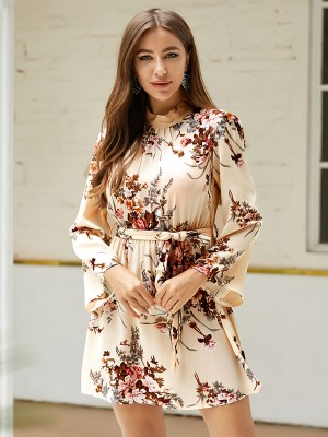 Marvellous Apricot Open Back Bell Sleeves Mini Dress Casual