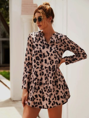 Brightly Yellow Leopard Paint V Neck Mini Dress Ultra Sexy