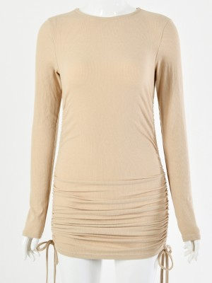 Fetching Khaki Mini Length Ruched Long Sleeves Dress Good Elasticity