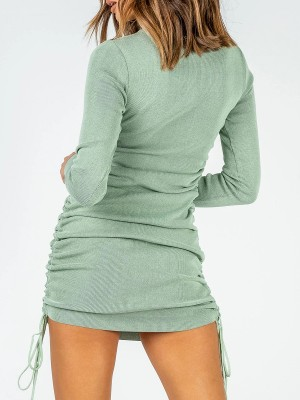 Noticeable Green Full Sleeve Drawstring Ruched Mini Dress Soft